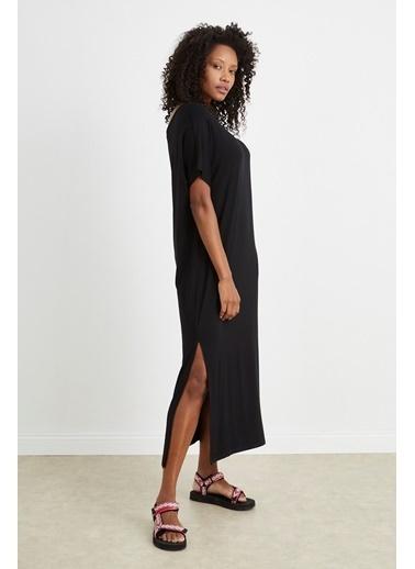 Curly Siyah Kayık Yaka Uzun Elbise Siyah